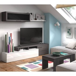 MUEBLE SALON NEXUS BLANCO BRILLO Y GRIS